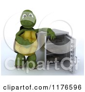 Poster, Art Print Of 3d Tortoise Standing By An Open Full Safe