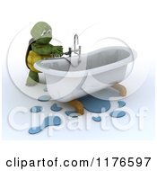 Clipart Of A 3d Plumber Tortoise Fixing A Leaky Bath Tub Pipe 2 Royalty Free CGI Illustration by KJ Pargeter
