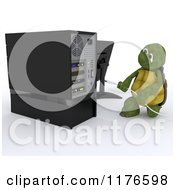 3d Tortoise Inserting A USB Cable Into A Desktop Computer