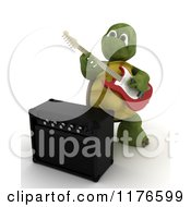 Clipart Of A 3d Tortoise Playing An Electric Guitar By An Amp Royalty Free CGI Illustration by KJ Pargeter