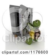 Poster, Art Print Of 3d Tortoise Opening A Safe Vault