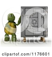 Clipart Of A 3d Tortoise Presenting A Safe Vault Royalty Free CGI Illustration