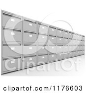 Clipart Of A Wall Of 3d Metal Office Filing Cabinets Royalty Free CGI Illustration