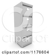 Clipart Of A 3d Metal Office Filing Cabinet Tower Royalty Free CGI Illustration
