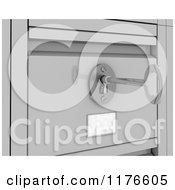 Clipart Of A 3d Skeleton Key In The Lock Of A Secured Filing Cabinet Royalty Free CGI Illustration
