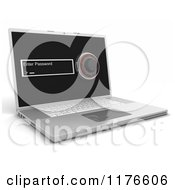 Clipart Of A 3d Laptop Computer With A Password Screen And Combination Lock Royalty Free CGI Illustration