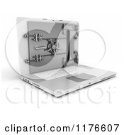 Clipart Of A 3d Secure Laptop Computer With A Secured Vault Safe Royalty Free CGI Illustration