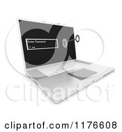 Clipart Of A 3d Laptop Computer With A Password Screen And Inserted Key Royalty Free CGI Illustration