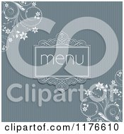 Blue Menu Design With Stripes And White Floral Vines