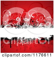 Clipart Of A Grungy Red Background With A Text Bar And Vines Royalty Free Vector Illustration by KJ Pargeter