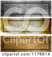 Clipart Of 3d Grungy Metal Website Banner Plates Royalty Free CGI Illustration