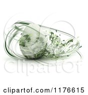Clipart Of A 3d Easter Egg With Abstract Green Foliage Swirling Around It Royalty Free CGI Illustration