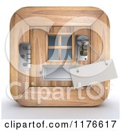 Clipart Of A 3d Wooden Door Icon With A Sign On The Handle Royalty Free CGI Illustration by KJ Pargeter