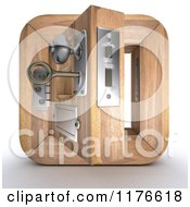 Clipart Of A 3d Open Wooden Door Icon With A Key In The Lock Royalty Free CGI Illustration by KJ Pargeter
