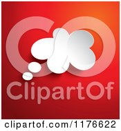 Clipart Of A 3d White Thought Bubble Over Red Royalty Free Vector Illustration by KJ Pargeter