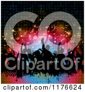 Clipart Of A Silhouetted Dancing Crowd With Grunge Over Colorful Lights And Music Notes Royalty Free Vector Illustration