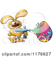 Cartoon Of A Paintball Easter Bunny Decorating An Egg Royalty Free Vector Clipart by Zooco