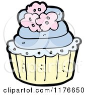 Cartoon Of A Blue Cupcake Decorated With Flowers Royalty Free Vector Illustration