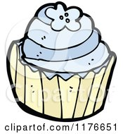 Cartoon Of A Blue Cupcake Decorated With Flowers Royalty Free Vector Illustration by lineartestpilot