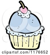 Cartoon Of A Blue Cupcake With A Cherry On Top Royalty Free Vector Illustration