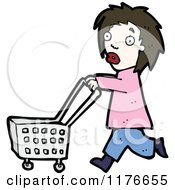 Cartoon Of A Young Girl Pushing A Shopping Cart Royalty Free Vector Illustration by lineartestpilot