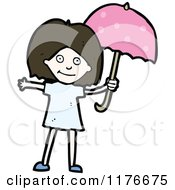 Cartoon Of A Young Girl With A Pink Unbrella Royalty Free Vector Illustration by lineartestpilot