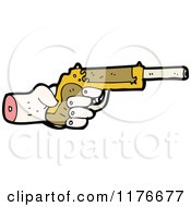 Cartoon Of A Severed Hand Holding A Pistol Royalty Free Vector Illustration