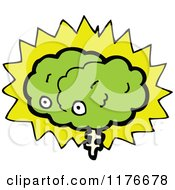 Clipart Of A Green Brain With Eyes And A Burst by lineartestpilot