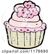 Cartoon Of A Pink Cupcake Decorated With Flowers Royalty Free Vector Illustration by lineartestpilot