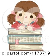 Cartoon Of A Happy Rag Doll Resting On A Stack Of Books Royalty Free Vector Clipart by BNP Design Studio