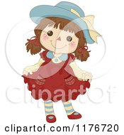 Cartoon Of A Happy Female Rag Doll Doing A Curtsy Royalty Free Vector Clipart by BNP Design Studio