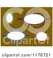 Cartoon Of Vintage Oval Frames Over Stripes Royalty Free Vector Clipart