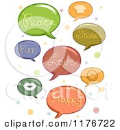 Cartoon Of Speech Balloons With Words And Icons Over Polka Dots Royalty Free Vector Clipart