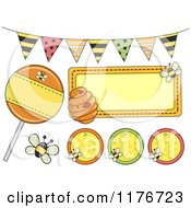 Cartoon Of Honey Bee Banners And Party Design Elements Royalty Free Vector Clipart