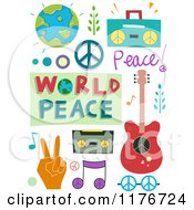 Cartoon Of World Peace Design Elements Royalty Free Vector Clipart