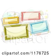 Cartoon Of Colorful Frames Over Dots And Doodles Royalty Free Vector Clipart