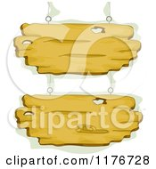 Cartoon Of Hanging Wood Signs With Green Royalty Free Vector Clipart
