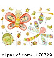Cartoon Of Cute Doodle Bugs And Leaves Royalty Free Vector Clipart by BNP Design Studio