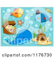 Cartoon Of A Whale Fish And Sunken Treasure On Blue Royalty Free Vector Clipart by BNP Design Studio