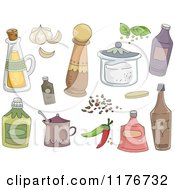 Cartoon Of Kitchen Spices And Condiments Royalty Free Vector Clipart