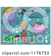 Cartoon Of A Turtle Fish Seahorse Octopus Jellyfish And Whale With Bubbles Royalty Free Vector Clipart by BNP Design Studio