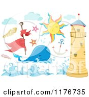 Cartoon Of A Whale Lighthouse Sun And Nautical Design Elements Royalty Free Vector Clipart by BNP Design Studio