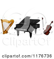 Cartoon Of A Harp Piano And Violin With Music Notes Royalty Free Vector Clipart by BNP Design Studio
