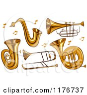 Cartoon Of Brass Instruments And Music Notes Royalty Free Vector Clipart by BNP Design Studio