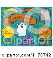Cartoon Of Halloween Design Elements Over Dots Royalty Free Vector Clipart