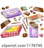 Cartoon Of Chocolate Bars And Candy Design Elements Royalty Free Vector Clipart