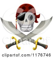 Cartoon Of A Pirate Skull And Sword Jolly Roger Royalty Free Vector Clipart by BNP Design Studio