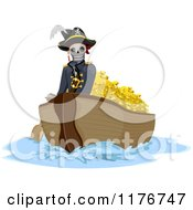Cartoon Of A Pirate Skeleton Transporting Gold In A Boat Royalty Free Vector Clipart