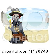 Cartoon Of A Pirate Skeleton Holding A Sword On A Beach Royalty Free Vector Clipart