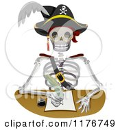 Cartoon Of A Pirate Skeleton Writing A Letter Royalty Free Vector Clipart by BNP Design Studio